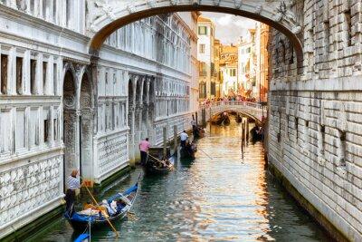 Fototapete Touristen in Gondeln Segeln unter der Seufzerbrücke in Venedig