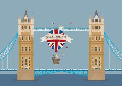 Fototapete Tower Bridge in London mit Heißluftballon