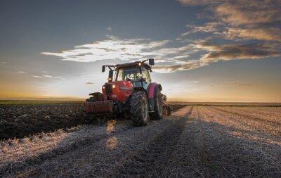 Fototapete Tractor plowing