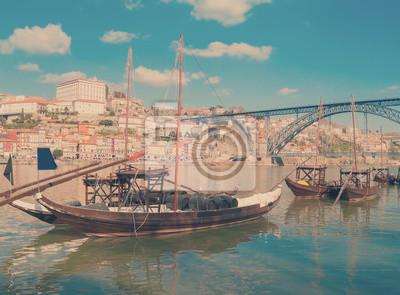 Fototapete traditional port wine boats, Porto,  Portugal