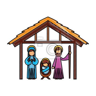 Weihnachten Krippe Bilder.Fototapete Traditionelle Familie Weihnachten Krippe Szene Baby Jesus Jungfrau