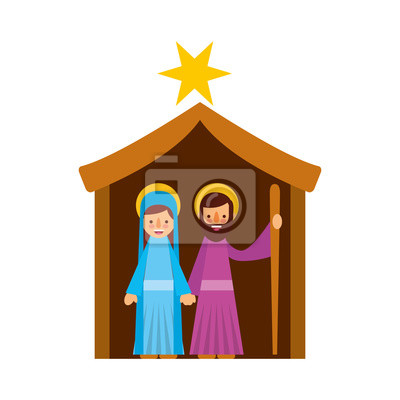 Weihnachten Krippe Bilder.Fototapete Traditionelle Familie Weihnachten Krippe Szene Jungfrau Maria