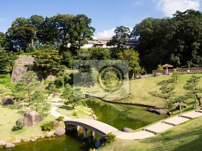 Traditionelle Japanische Garten Mit Teich Und Brücke Auf Dem