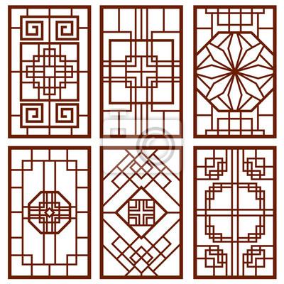 Fototapete Traditionelle Koreanische Tür Und Fenster Ornament, Chinesische  Wand Design, Japan Frames Vektor