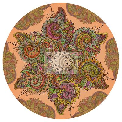 Traditionelle Kreis Vektor orientalischen indischen Blumenverzierung