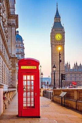 Fototapete Traditionelle rote Telefonzelle und Big Ben in London