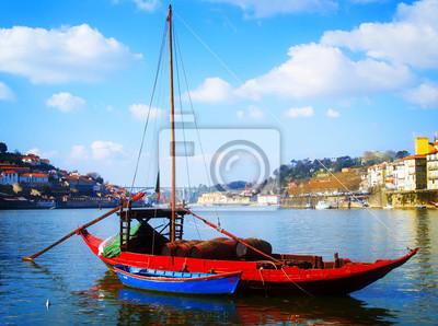 Fototapete Traditionellen Hafen Wein Boote, Porto, Portugal