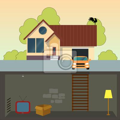 Fototapete Traditionelles Einfamilienhaus. Modernes Haus Mit Keller. Ein  Auto Und Eine Garage. Flache