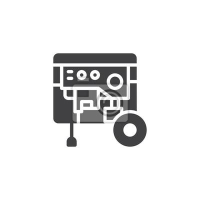 Tragbarer stromgenerator-ikonenvektor, gefülltes flaches zeichen ...