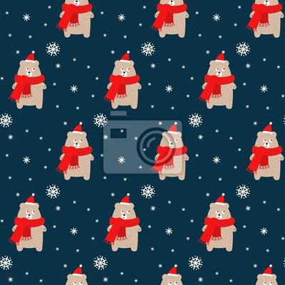 Fototapete Tragen Sie in Weihnachtshut und -schal mit nahtlosem Muster der Schneeflocken auf blauem Hintergrund. Weihnachtsdesign für Textil, Tapete, Stoff.