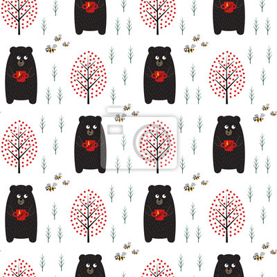 Fototapete Tragen Sie mit nahtlosem Muster des Honigs, der Bienen und der Bäume auf weißem Hintergrund. Einfache skandinavische Artnaturillustration. Netter Wald mit Tieren entwerfen für Gewebe, Tapete, Gewebe.