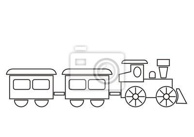 Train, coloring book fototapete • fototapeten Depot, Färben ...