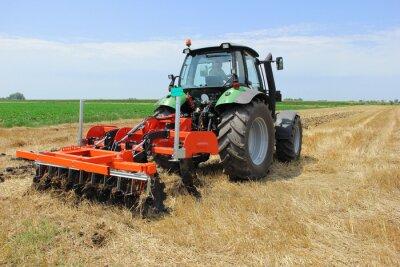 Fototapete Traktor auf dem Feld