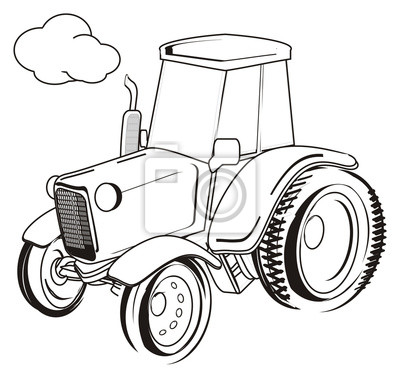 Traktor, auto, transport, bauernhof, abbildung, karikatur ...