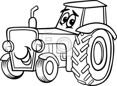 Traktor Cartoon Für Malbuch Fototapete Fototapeten öffentliche