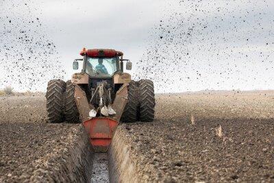 Fototapete Traktor mit Doppel-Rädern Ditcher Graben Drainage Kanal