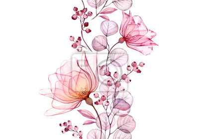 Fototapete Transparent watercolor rose. Seamless vertical border floral illustration. Isolated hand drawn arrangement with berries for wedding design, stationery card print