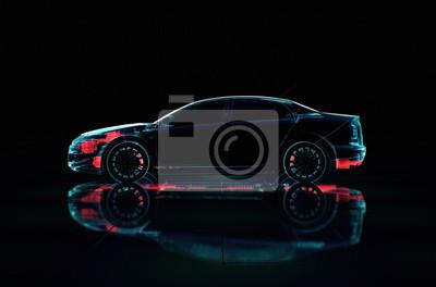 Fototapete Transparente Illustration 3D des Fahrzeugs