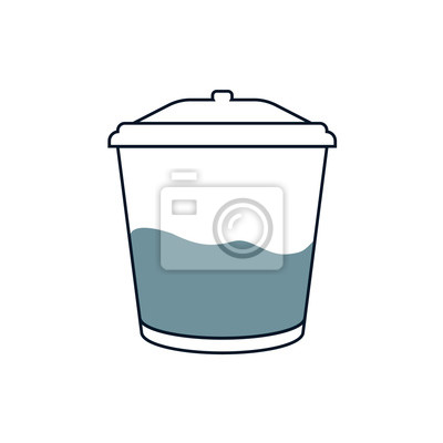 Trash can with garbage. Linear flat graphics. Vector illustration. Icon on an isolated white background.