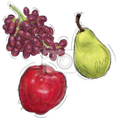 Trauben-, Birnen-und Apfel