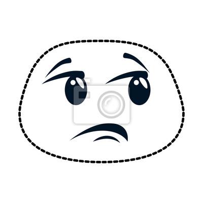 Trauriges Gesicht Emoji Charaktervektor Illustrationsdesign