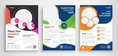 Fototapete Travel Flyer poster pamphlet brochure cover design layout background, three colors scheme, vector template in A4 size - Vector