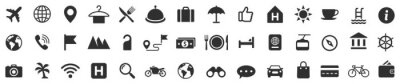 Fototapete Travel icons set. Tourism simple icon collection. Vector