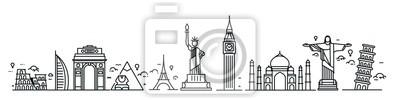Fototapete Travel the world monument concept - Vector Flat Line Art Design.