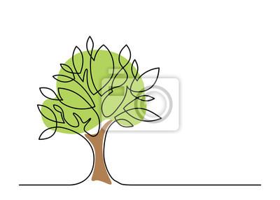 Fototapete tree one line color