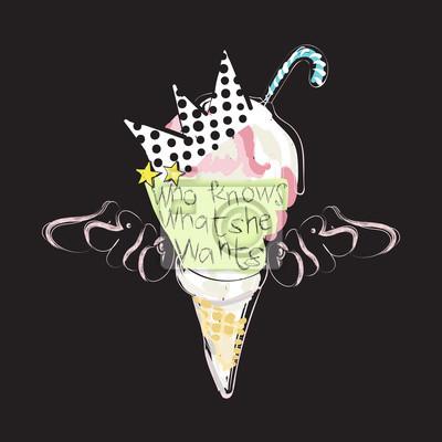 Trend-patch mit eiscreme, krone und slogan. vector pop-art-collage ...