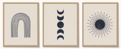 Fototapete Trendy contemporary set of abstract monochrome geometric minimalist composition