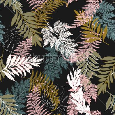 Fototapete Trendy Dark Beautiful viele Arten von Blättern füllen mit Tupfenmuster und Silhouette Linie nahtlose Vektor-Anzüge für Mode, Stoff und alle Drucke auf schwarzer Hintergrundfarbe