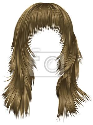 Trendy Frau Lange Haare Braun Blonde Beige Farben Schönheit