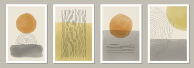 Fototapete Trendy set of abstract creative minimal artistic hand painted compositions