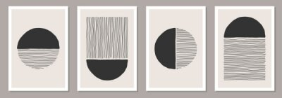 Fototapete Trendy set of abstract creative minimalist artistic hand painted compositions
