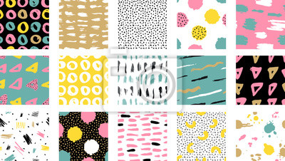 Fototapete Trendy vector seamless colorful pattern with brush strokes.  Vector illustration