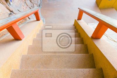 Fototapete: Treppen stein gehweg alt unten berg im tempel