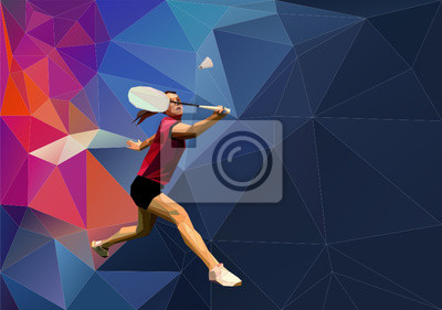 Triangle Low Poly Badmintonspieler