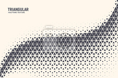 Fototapete Triangle Shapes Vector Abstract Geometric Technology Oscillation Wave Isolated on Light Background. Halftone Triangular Retro Simple Pattern. Minimal 80s Style Dynamic Tech Wallpaper