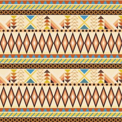 Fototapete Tribal ethnischen nahtlose Streifenmuster. Farbfelder enthalten.