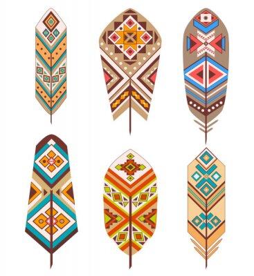 Fototapete Tribal Federn mit ethnischen Muster