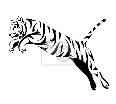 Fototapete Tribal Tiger springen - vector tattoo