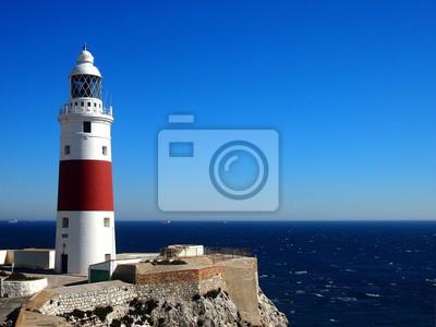 Trinity Leuchtturm am Europa Point, markiert den Treffpunkt des Mittelmeeres und des Atlantischen Ozeans, in Gibraltar