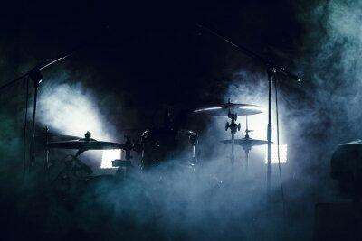 Fototapete Trommel in Rauch auf einer Bühne