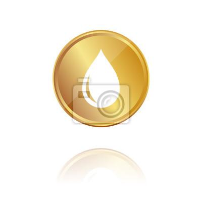 Tropfen Gold Münze Mit Reflektion Fototapete Fototapeten