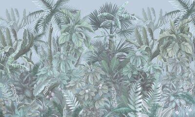 Fototapete Tropical forest, jungle, blue