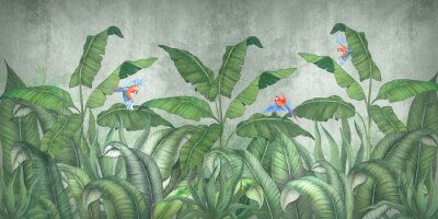 Fototapete Tropical jungle with flying parrots. Against the background of textured plaster.