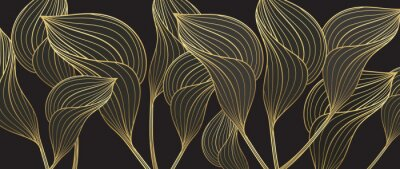 Fototapete Tropical leaves background vector with golden line art texture.  Luxury wallpaper design for prints, poster, cover, invitation, packaging design background, wall art and home decoration.