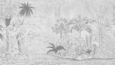Fototapete Tropical nature landscape, jungle with exotic tropical plants, flowers and leaves. Drawn jungle illustration. Design  for card, postcard, wallpaper, photo wallpaper, mural.
