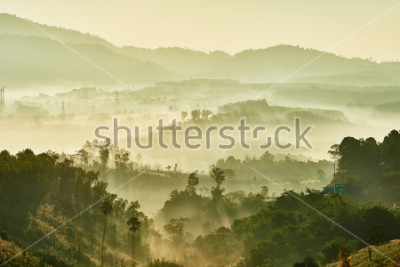 Fototapete Tropical nature landscape mountains forest with slightly fog in morning and sunlight, Thailand.